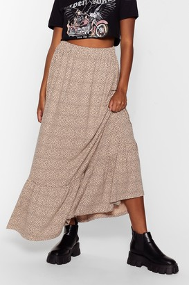 Nasty Gal Womens Dot At All Ruffle Hem Maxi Skirt - Beige - 6, Beige
