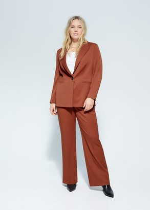 MANGO Violeta BY Slim fit suit blazer burnt orange - M - Plus sizes