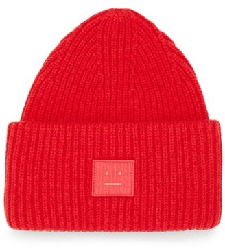 Acne Studios Pansy Face Patch Rib-knitted Wool Beanie - Red