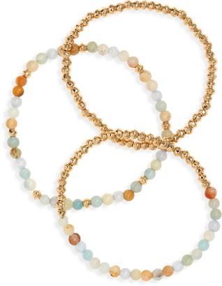 Halogen Set of 3 Beaded Stretch Bracelets