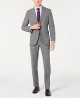 Kenneth Cole Reaction Men's Slim-Fit Ready Flex Stretch Light Gray Windowpane Suit