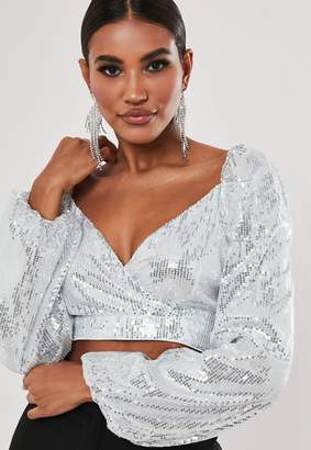 Missguided Silver Sequin Puff Sleeve Milkmaid Crop Top
