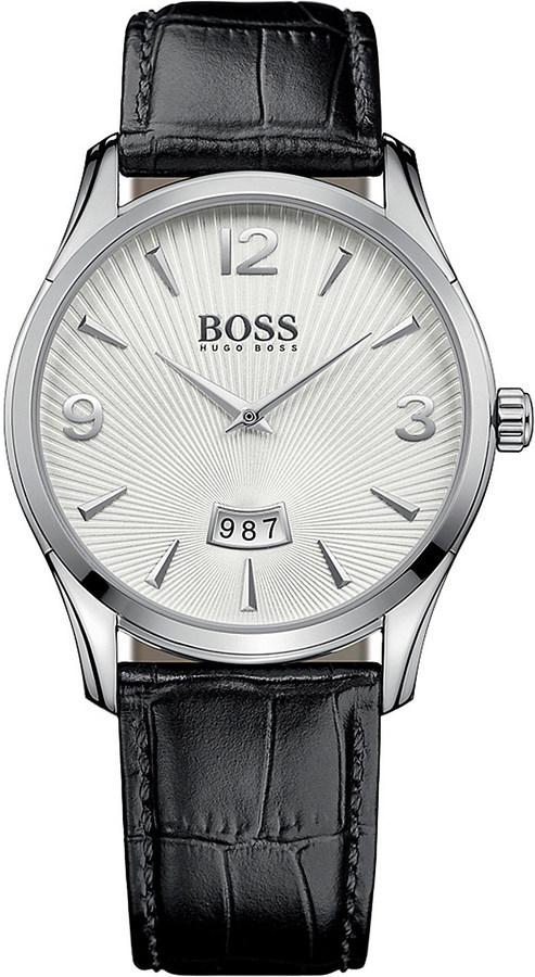 HUGO BOSS Commander stainless steel and leather watch