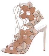 Casadei Laser-Cut Lace-Up Sandals