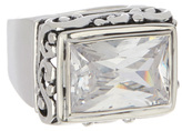 Barse Cubic Zirconia & Silvertone Rectangle Ring