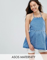 Asos Denim Square Neck Top With Frill Hem in Midwash Blue