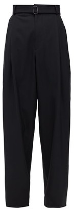 Edward Crutchley Reverse-pleated Wide-leg Wool-sharkskin Trousers - Black