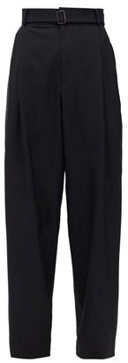Edward Crutchley Reverse-pleated Wide-leg Wool-sharkskin Trousers - Womens - Black
