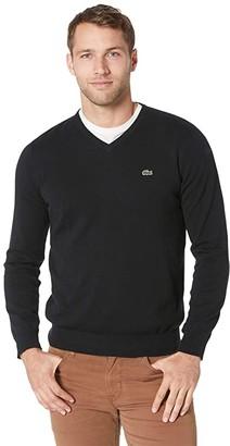 Lacoste Long Sleeve Half Moon V-Neck Jersey Sweater (Navy Blue/Flour/Navy Blue) Men's Sweater