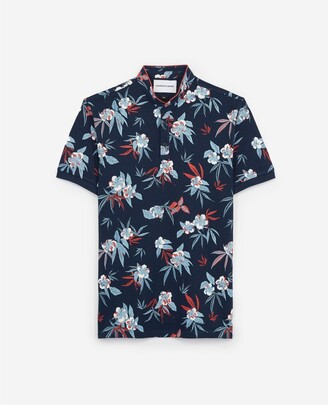The Kooples Blue polo with officer collar/floral print