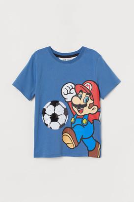 H&M Reversible-sequin T-shirt - Blue