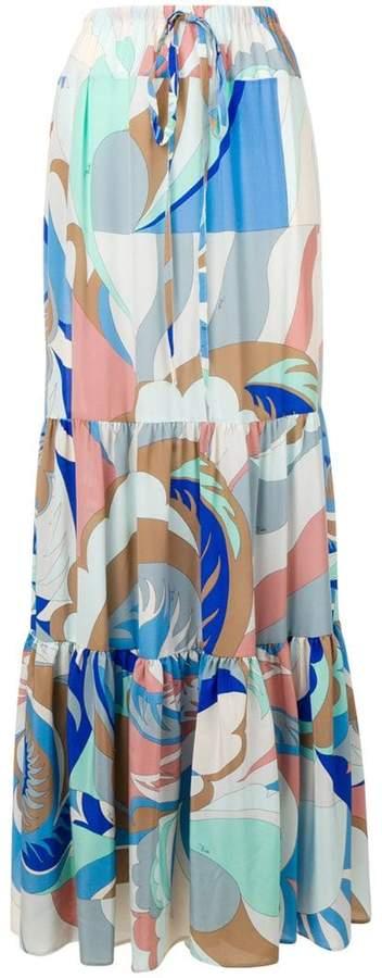 Acapulco Print Tiered Maxi Skirt