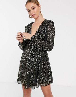 Glamorous long sleeve wrap dress in gold spot-Black