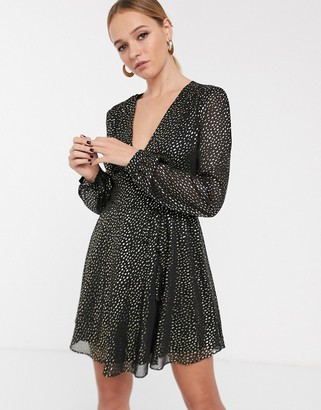 Glamorous long sleeve wrap dress in gold spot