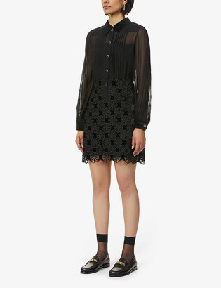 Sandro Nevy geometric-lace crepe and velvet mini dress