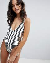 Blue Life Roped Up One Piece Swimsuit