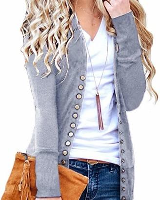 CNFIO Women Long Sleeve Cardigans Lightweight Open Front Knit Sweater Cardigan D-Grey Large/UK 14