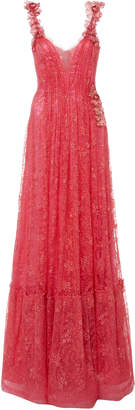 Rodarte Flamingo Glittered Flower-Appliqued Chantilly Lace Gown