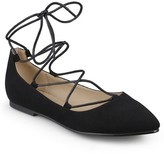 Women's Journee Collection Fiona Lace-Up Pointed Toe Ballet Flats