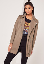 Missguided Bonded Faux Suede Biker Coat Brown