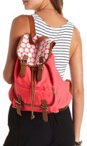 Charlotte Russe Crochet-Topped Belted Canvas Backpack