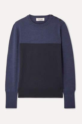 Cefinn - Jenna Button-detailed Color-block Wool Sweater - Navy