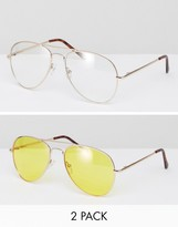Asos 2 Pack Aviator Sunglasses With Yellow Lens & Clear Lens