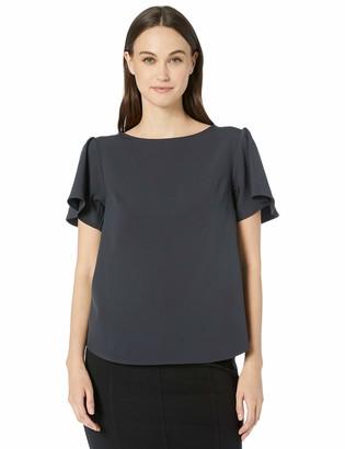 Lark & Ro Amazon Brand Women's Short Sleeve Stretch Woven Flutter Top