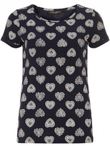 Navy heart print tee blue
