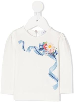 MonnaLisa long sleeved ribbon print T-shirt