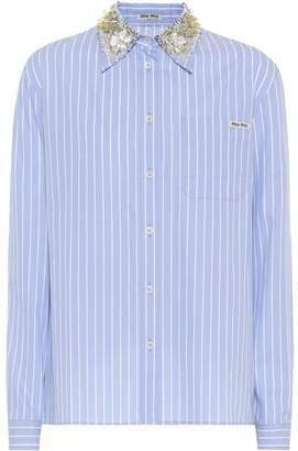 Miu Miu Embellished striped cotton shirt