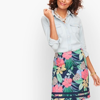 Talbots Cotton Canvas A-Line Skirt - Hibiscus Print