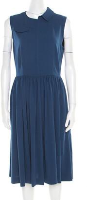 Marc by Marc Jacobs Deep Blue Half Collar Detail Crepe Yumi Dress S