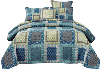 Tache Home Fashion Cotton Bohemian Ocean Blue Paisley Patchwork Quilt, Cal King