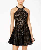 B. Darlin Juniors' Sequined Lace Fit and Flare Dress