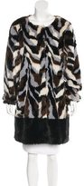 Adrienne Landau Knee-Length Faux Fur Coat