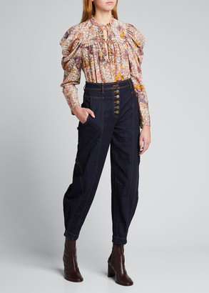 Ulla Johnson Remy Floral Long-Sleeve Blouse