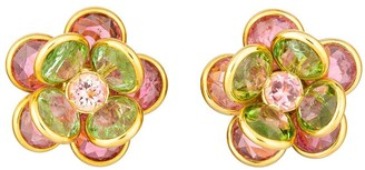 GUITA M 18kt Yellow Gold And Tourmaline Flower Clip-On Earrings