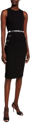 Michael Kors Sleeveless Button Sheath Dress with Belt