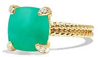 David Yurman Chatelaine Ring with Chrysoprase and Diamonds in 18K Gold