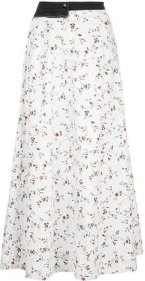 Marine Serre White Flower Print Midi Skirt