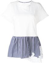 P.A.R.O.S.H. striped ruffled hem T-shirt - women - Cotton - S