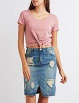 Charlotte Russe Ribbed Knotted Crop Top