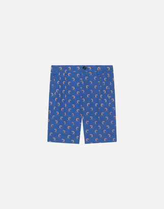 Dolce & Gabbana Bermuda Shorts In Poplin With Sunlounger And Parasol Print