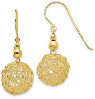 14K Yellow Gold Mirror Bead and Wire Ball Earrings by Versil