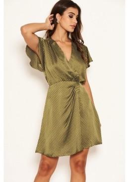 AX Paris Women's Polka Dot Pleated Wrap Dress