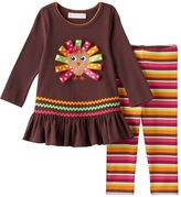 Bonnie Jean Baby Girl Thanksgiving Turkey Applique Top & Striped Leggings Set