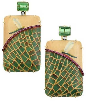 Silvia Furmanovich Marquetry 18K Yellow Gold, Green Tourmaline & Light Brown Diamond Water Lily Drop Earrings
