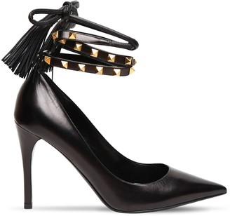 Valentino 100mm Rockstud Flair Leather Laceup Pump