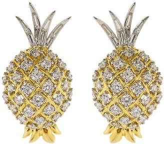 Verdura 18kt Yellow Gold Diamond Pineapple Earrings